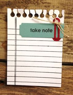 Technique Tuesday - Ideas and Inspiration Blog: Story Card Sunday: Take Note