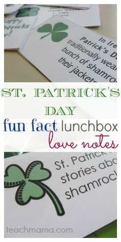 st. patrick's day fun fact lunchbox notes | perfect way to teach kids about st. patty's day!