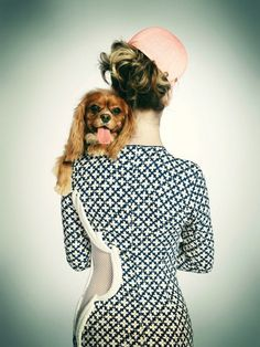 Emily Shur made sweet series of fashion photos with dogs over shoulders for Paper Magazine.