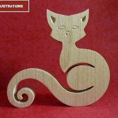 Sculpture en bois chat 4 en chantournage