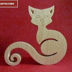 Sculpture en bois chat 4 en chantournage