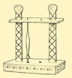 A stand for spindles. Magyarvalkó, former Kolozs County, Hungary. Spinning Wheels, Spinning Yarn, Drop Spindle, Folklore, Hungary, Venus, 1930s, Lazy, Cord