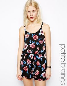$45, Black Floral Silk Playsuit: Glamorous Petite Floral Print Cami Playsuit. Sold by Asos. Click for more info: https://lookastic.com/women/shop_items/88224/redirect