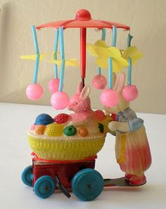 Vintage Celluloid & Tin Wind Up Easter Toy