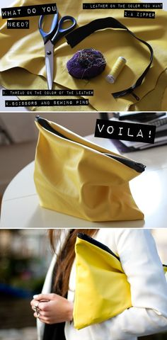 DIY: yellow leather zippered clutch #diy
