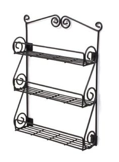 Amazon.com: Spectrum Wall-Mountable Black Scroll Spice Rack: Kitchen & Dining $16 - for my fruits and veggies instead of a bowl taking up precious counter space.