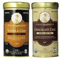 Zhena's Gypsy Tea (Organic, Fair Trade, Gluten-Free & Vegan) 2 Flavor Variety Bundle: (1) Zhena Vanilla Chai Black Tea, and (1) Zhena Chocolate Chai Herbal Red Tea, 1.54 Oz. Ea.