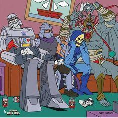 Meme Artwork Skeletor Grayskull He-Man Heman MOTU Masters of the Universe Man-At-Arms Teela Filmation Beast Man Orko Merman Plastic Crack Skeletor Quotes, Arte Nerd, Saturday Morning Cartoons, Cartoon Crossovers, Classic Cartoons, The Villain, Teenage Mutant Ninja Turtles, Tmnt, Cartoon Art