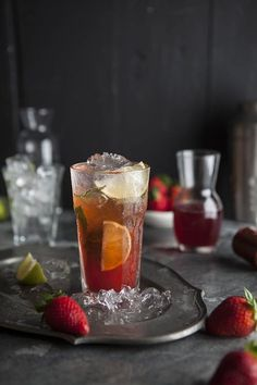 strawberry mojito with a ginger, basil and mint infusion