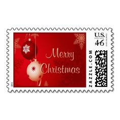 """Seasonal Decorations Stamps. Unique, trendy, chic and stylish Christmas holiday greetings mail postage. With cute and fun image of traditional red and white bauble ornaments design, and """"Merry Christmas"""" text. Original, elegant and classy stamps to personalize your December winter season wishes with."""