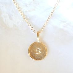 Custom Gold Stamped Initial Necklace