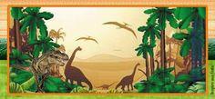 convite-ingresso-personalizado-gratuito-dinossauros Dinosaur Birthday Party, Birthday Party Themes, Jurassic World, T Rex, Nursery Art, Gabriel, Clip Art, Cartoon, Painting