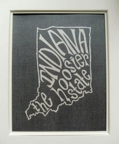 Indiana the Hoosier State - Place I Love Print - Black Background - 8x10 Illustrated Print. $18.00, via Etsy.