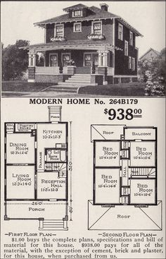 Artistic Foursquare - Sears Modern Home No. 264B179 - Pyramidal Roof - Craftsman-style Detail - Woodland