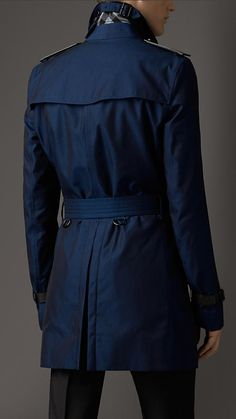 Burberry London Leather Detail Cotton Gabardine Trench Coat