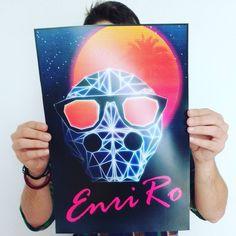 "Enriro en Instagram: ""Nuevo póster. #Poster #Design #retro #future #laser #triangle #art #sun #moon #palms #night #digitalart #illustration #artwork #Photoshop #Wacom #orange #yellow #pink #blue #print #sunglasses #skull #logo #Enriro #me #boy #amazing #instagood"""