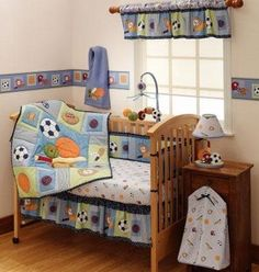 Love the colors for this sports themed boy room...nice and bright!