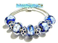 european bead Bracelet Blue charms PB834 by CookalasHouseOfCards, $11.99