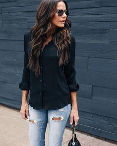 Big Shot Button Down Blouse - Black Button Down Outfit, Black Button Down Shirt, Black Blouse Outfit, Mein Style, Autumn Winter Fashion, Black Tops, Big Shot, Long Sleeve Shirts, Casual Outfits