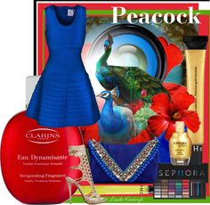 """Polyvore Contest Headquarters Peacock Strut Challenge"" by lindacaricofe on Polyvore"