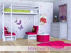 Angela's Mayfair Teenroom Sims 4 Cc Furniture, Custom Furniture, Kids Furniture, Bedroom Furniture, The Sims, Sims Cc, Sims 3 Rooms, Teen Rooms, Kid Beds
