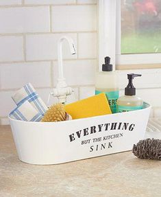 """Kitchen Sink Countertop Storage Caddy looks just like a sink and bears the inscription, """"Everything but the kitchen sink."""" Use it to store all your dishwashing Kitchen Sink Countertop, Kitchen Sink Caddy, Kitchen Sink Organization, Sink Organizer, White Kitchen Cabinets, Kitchen Storage, Kitchen Appliances, Kitchen Islands, Granite Countertops"""