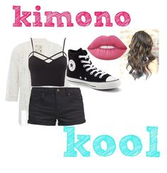 """kool"" by abelina-ruiz-loves-fashion ❤ liked on Polyvore featuring M&Co, TWINTIP, Charlotte Russe, Converse, Lime Crime and kimonos"