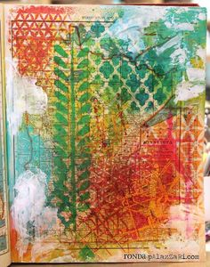 Am really being inspired to do an altered book journal. I bought a great mexican cookbook several months ago that is just waiting to be 'altered' with paint and stencils.    Ronda Palazzari Vintage Atlas Map Stenciled
