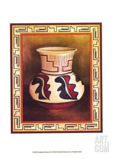 Great for 'Southwest Pottery III' Chariklia Zarris Painting Print by Great Big Canvas Wall Art Decor from top store Southwest Pottery, Painting Prints, Fine Art Prints, Native American Design, Pottery Painting, Canvas Wall Art, Big Canvas, Find Art, New Art