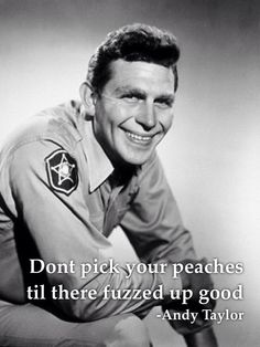 Andy Griffith Quotes Don't pick your peaches til they're fuzzed up good. Andy Taylor
