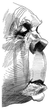 Jorge Luis Borges by David Levine - Rice&Caricature Arte Peculiar, Arte Sketchbook, Art Et Illustration, Pen Art, Art Drawings Sketches, Surreal Art, Portrait Art, Cartoon Art, Weird Art