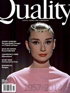 """Quality No. 38 """"THINK PINK"""" - Audrey Hepburn back on Quality Magazine after 57 years Audrey Hepburn, Old Hollywood Actresses, Marilyn Monroe, Role Models, Beautiful People, Magazine, Celebrities, Pink, Colors"""