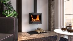 Modern Log Burners, Modern Wood Burning Stoves, Log Burning Stoves, Wood Stove Modern, Wood Burner Fireplace, Modern Fireplace, Fireplace Wall, Fireplace Design, Wall Fireplaces