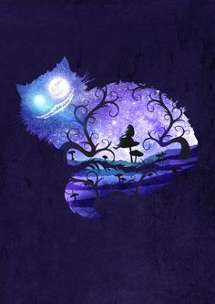 Alice In Madness: Fun, whimsical, intricate painting idea of scene inside Cheshire Cat. We are all mad here Art Print. Please also visit for more colorful art you might like to pin. Art Disney, Disney Kunst, Alice Disney, Gato Alice, Wallpaper Gatos, Alice In Wonderland Drawings, Alice In Wonderland Background, Alice In Wonderland Silhouette, Alice In Wonderland Scenes