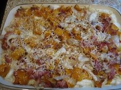 Butternut squash and bacon pasta bake
