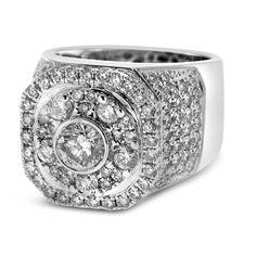 diamond pinky rings for men | Home Men's White Gold Diamond Pinky Ring