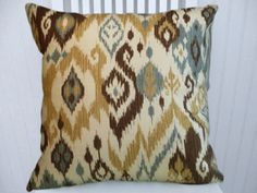 Brown Blue Ikat Decorative Pillow by CodyandCooperDesigns on Etsy, $45.00