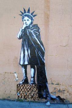 "Banksy - Statue of Liberty Kid- New York -24""x36"" Canvas Print Urban Graffiti | eBay"