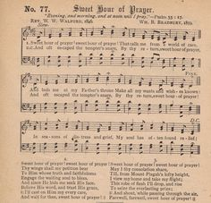 Printable Antique Hymn Page - Sweet Hour of Prayer - Knick of Time
