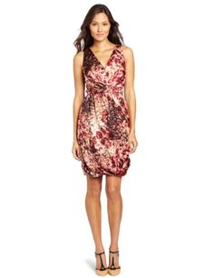 Anne Klein Women's Stepping Stone Print Dress, Beige/red/brown/off White, 12
