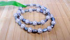 conjunto de pulseiras de pérola de vidro com pérola de rio doce cinza. R$ 17,00