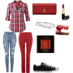 A fashion look from March 2015 featuring Oui leggings, Topshop jeans and Converse sneakers. Browse and shop related looks.