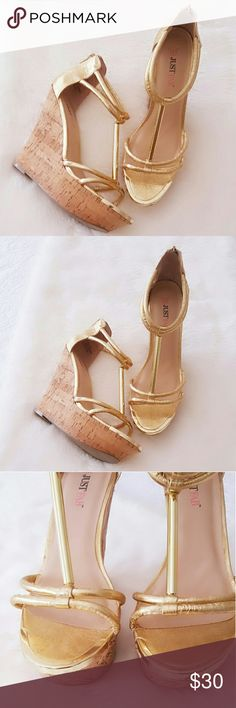 Just Fab Wedges Pre-owned Gold Wedge Size 81/2 Excellent condition  Worn Once for 30 minutes JustFab Shoes Wedges