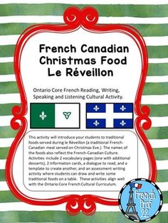Printing Videos Architecture Home Canadian Christmas, French Christmas, Christmas Eve, Culture Activities, Writing Activities, Classroom Activities, High School French, French Class, Quebec French