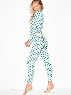 Thermal Sleep Legging - Mint Polka Dot - Size M - PINK - Victoria's Secret