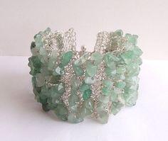 Crochet wire bracelet, crochet wire jewelry, wire bracelet, gemstone bracelet, green gemstone jewelry. $32.00, via Etsy.