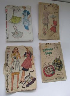 Vintage Apron Sewing Patterns Old Used Lot of 4 Simplicity One Size Glamper USA