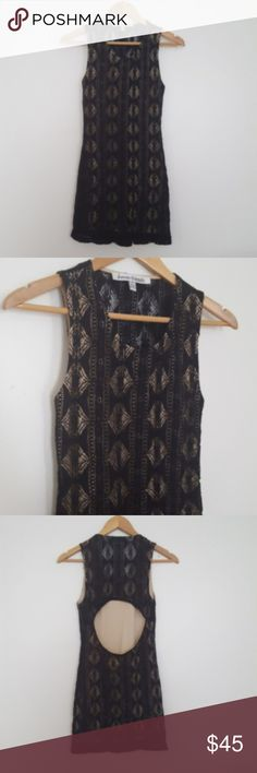 """Lovers + Friends Black Lace Sway Back Cutout Dress Sleeveless Lovers & Friends from Revolve black diamond lace sway bodycon stretchy dress with a beige liner and cutout back. Above the cutout in back, the back is sheer lace with no liner. 33"""" length and approx. 15"""" across the bust. Size S small. Lovers + Friends Dresses Backless"""