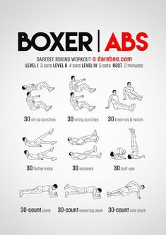 Best abdominal core workouts by Darebee & NeilaRay for stronger abs, allowing you to implement much more variety than your traditional sit-up. Boxer abs aren't only a great way to mix up your workout, but is the best way to build up those abs! Fitness Workouts, Gym Workout Tips, At Home Workouts, Fitness Tips, Health Fitness, Boxing Workout With Bag, Boxing Training Workout, Killer Ab Workouts, Kick Boxing
