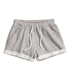 Check this out! Short shorts in marled sweatshirt fabric with an elasticated drawstring waist and sewn-in turn-ups at the hems. - Visit hm.com to see more.